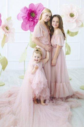Комплект «Дочки-матери» розовый пышный