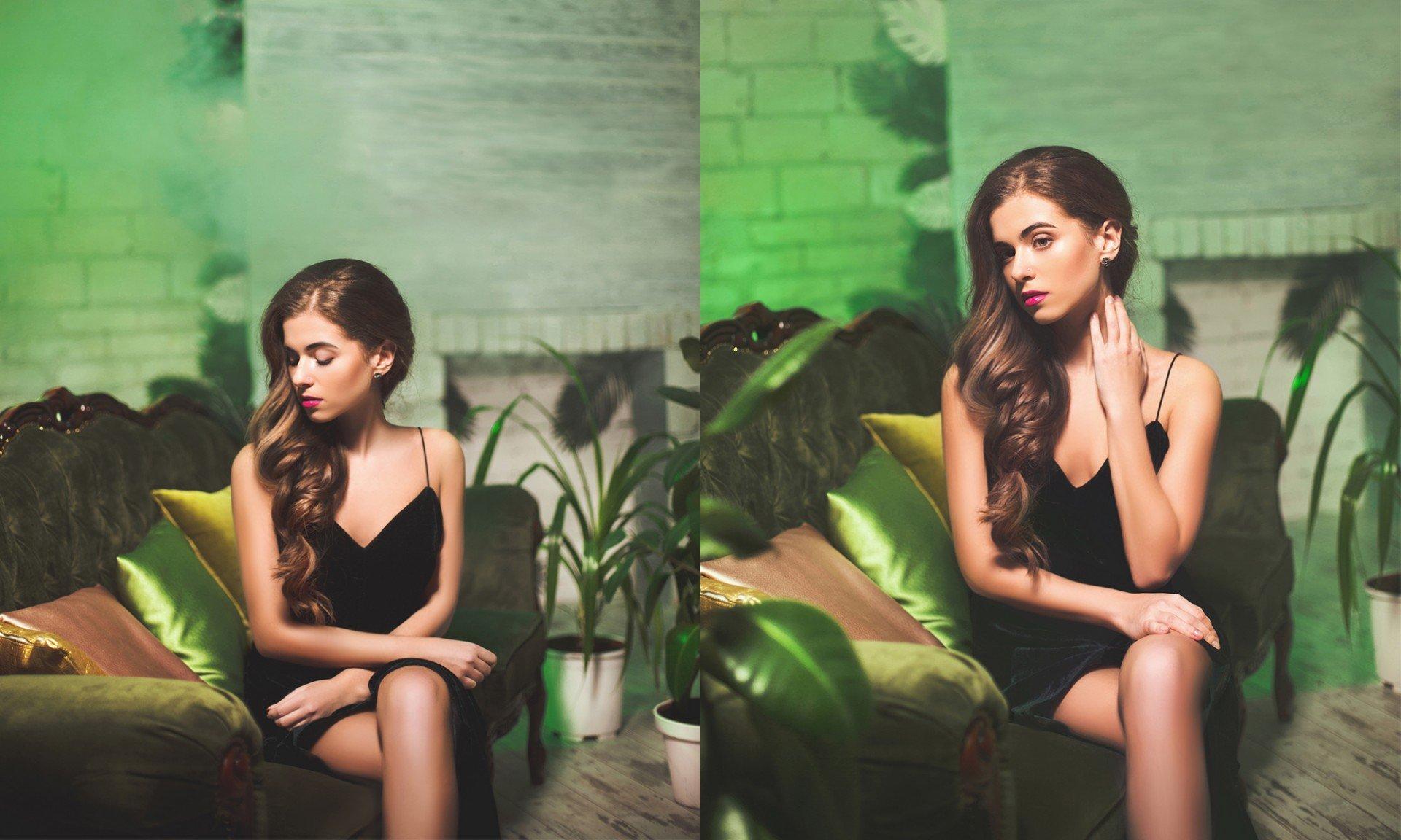 красивая модель тропики фото - фотосессия фешн в фотостудии желтый кролик