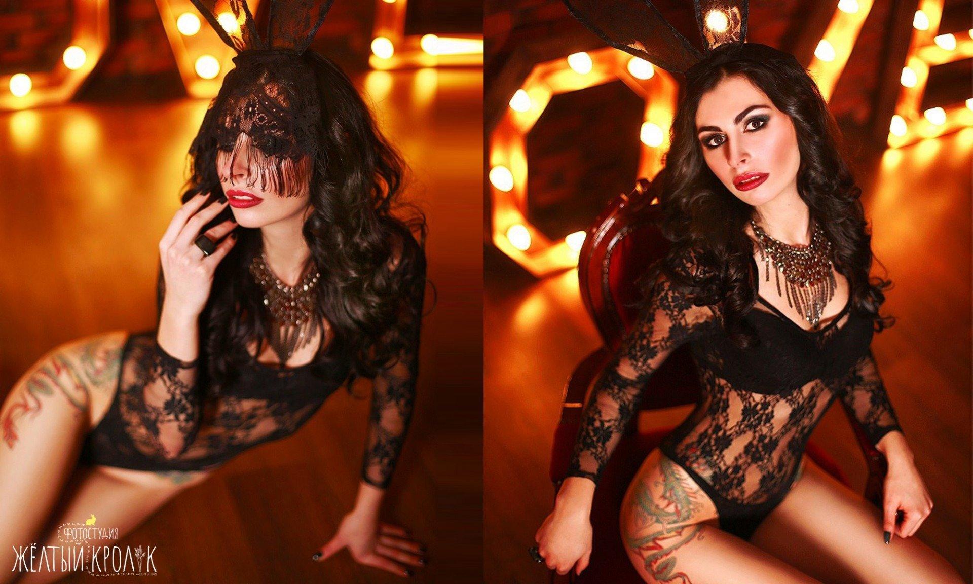 красивая модель в боди с ушами фото - фотосессия фешн в фотостудии желтый кролик
