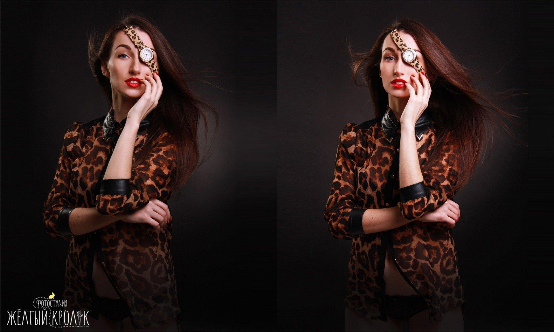 модель в леопардовой блузе фото - фотосессия фешн в фотостудии желтый кролик