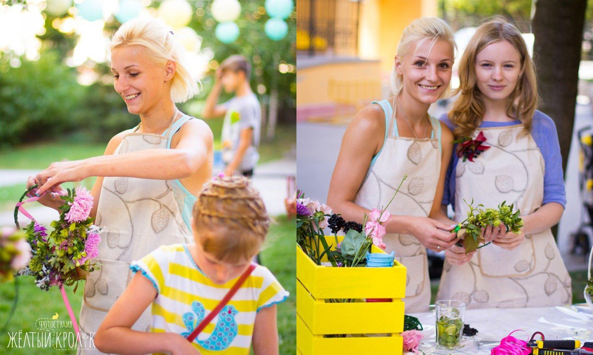 флористы на празднике - репортажная фотосъемка в фотостудии желтый кролик
