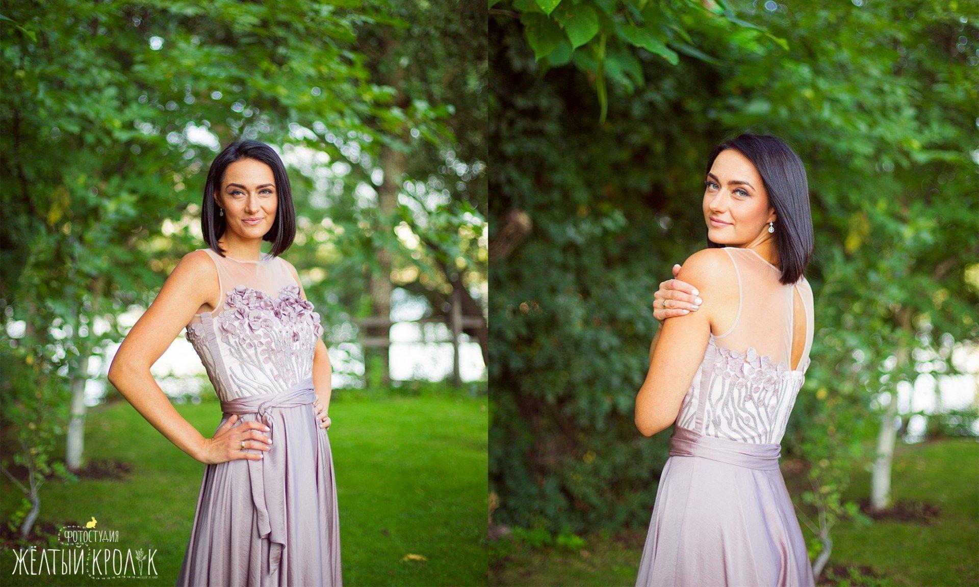 красивая девушка на природе - репортажная фотосъемка в фотостудии желтый кролик