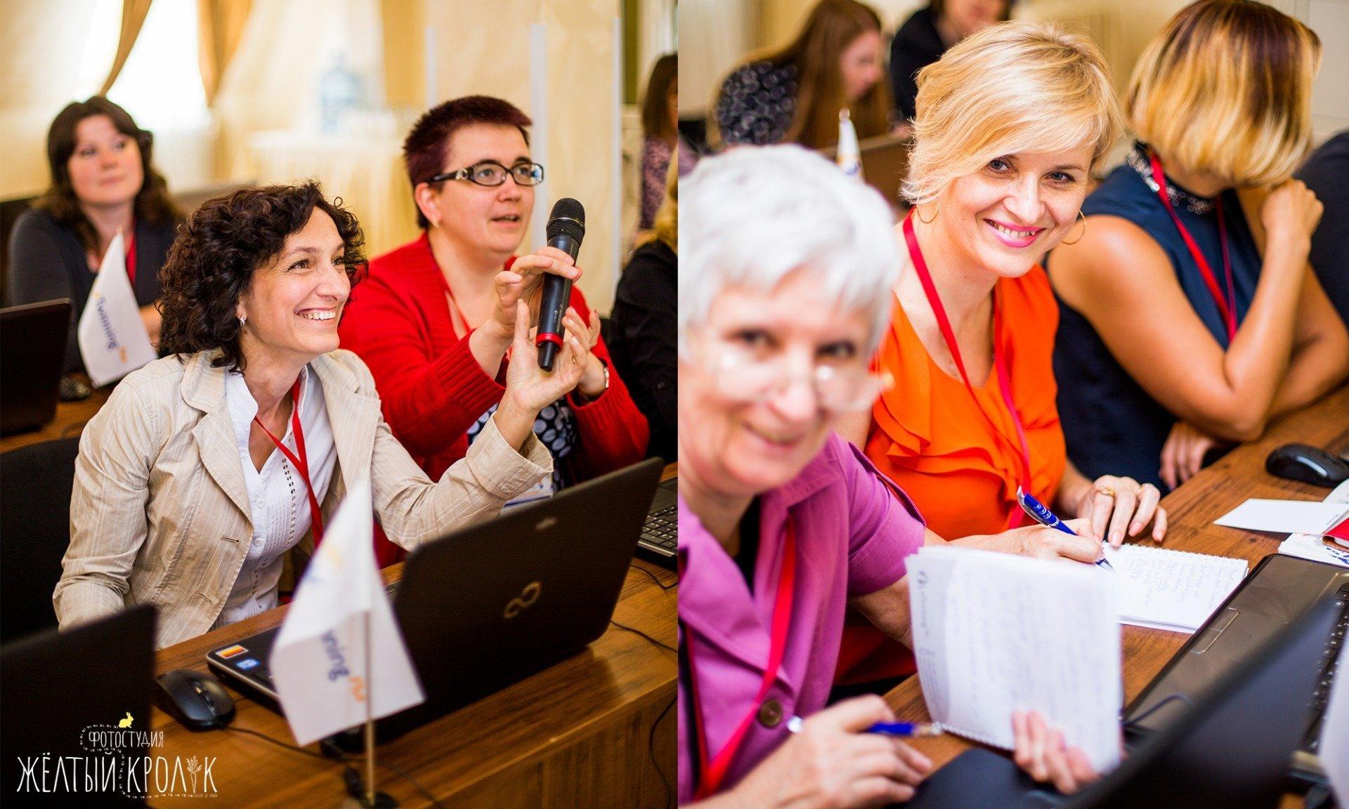 радостные участники конференции фото - репортажная фотосъемка в фотостудии желтый кролик